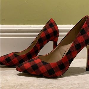 Red and black check heels